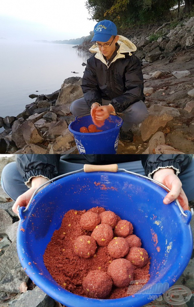 Ifjú horgászbarátom, Bálint is elkísért, aki már kora hajnalban lelkesen gyúrta a gombócokat