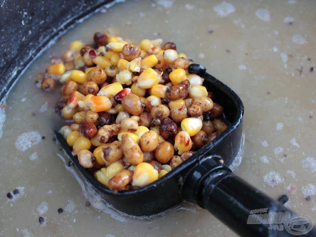 A magmix elsősorban főzött tigrismogyoróból és kukoricából állt, de kevertünk hozzá kevés kendermagot és repcét is