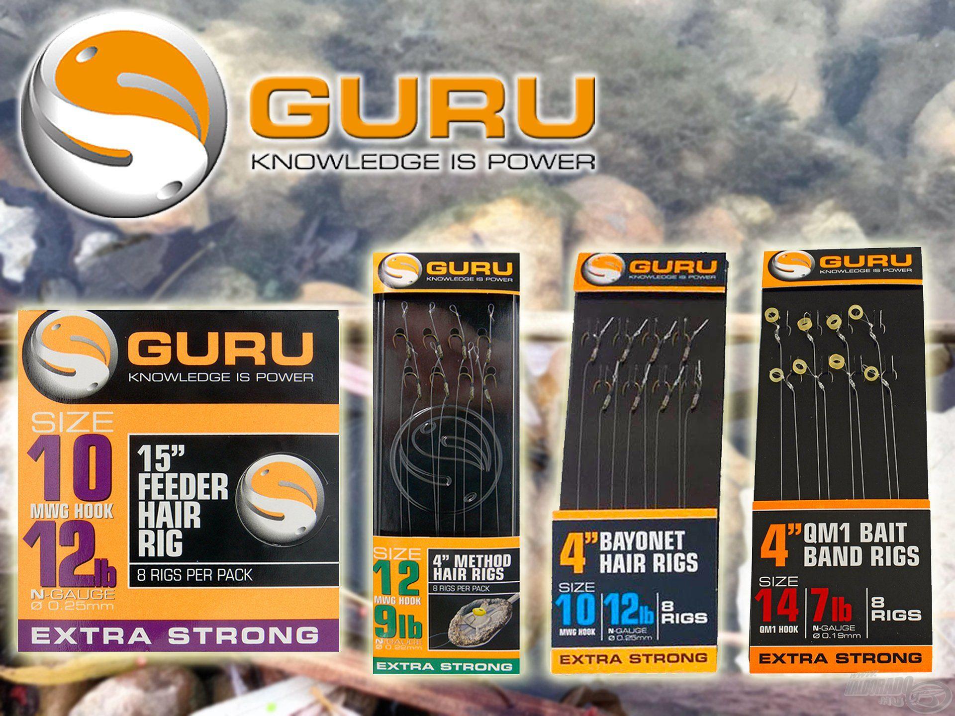 A Guru előrekötött horgai között van hajszálelőkés, csalitüskés és szilikonkarikás is