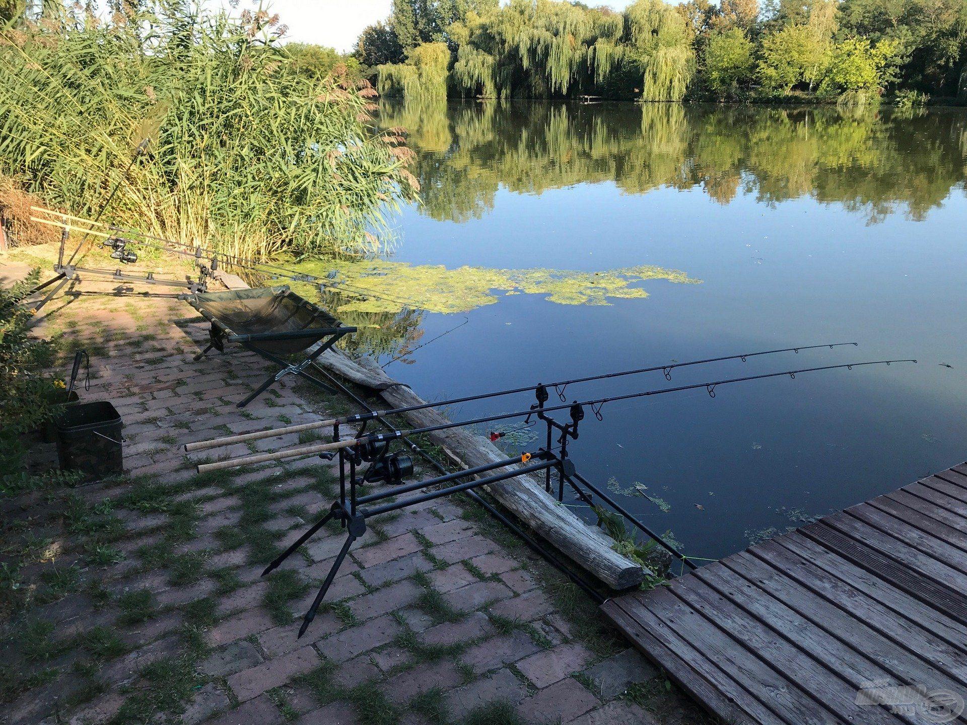 Nem túl tágas horgászhely, de ketten pont elfértünk