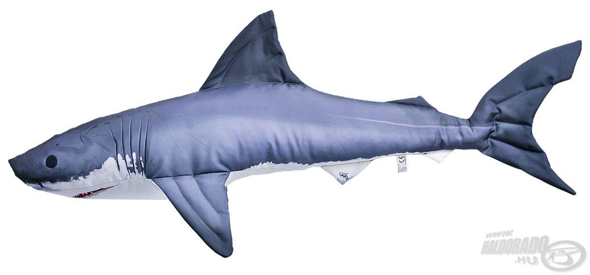 A tengerek, óceánok királya a nagy fehér cápa! Ez a díszpárna igen tekintélyes, 120 cm-es hosszal rendelkezik