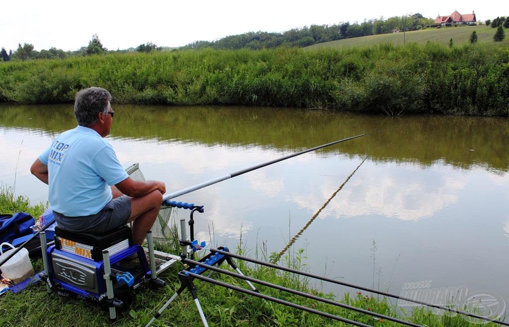 A forgatás után rövid horgászat következett