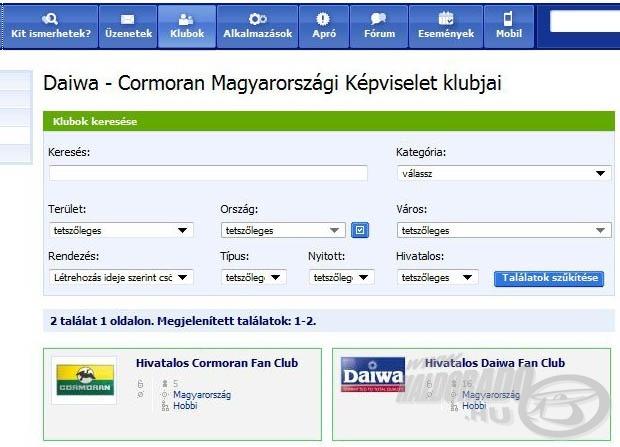 A DAIWA a népszerű közösségi portálon, az IWIW-en is megtalálható