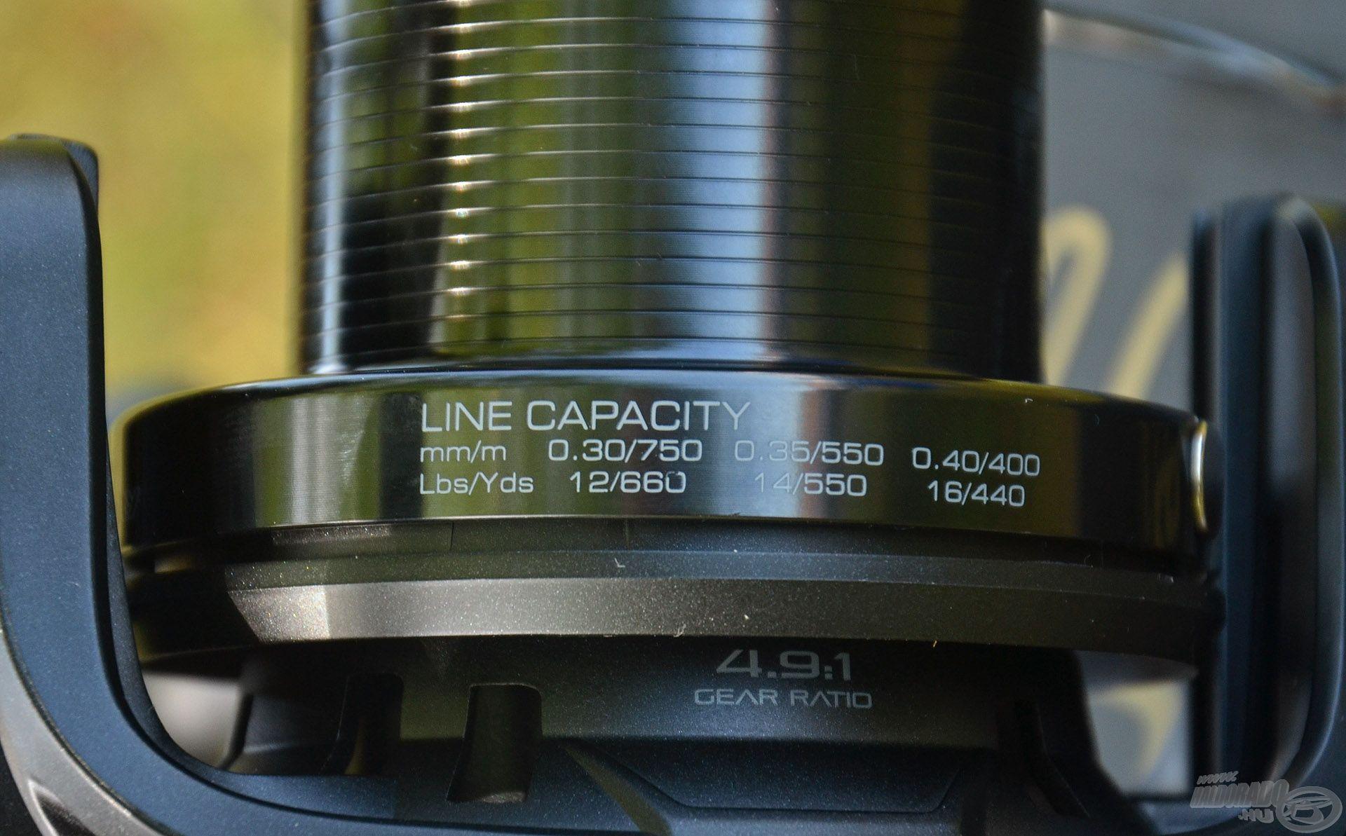 Zsinórkapacitása több mint kielégítő, még a 0,35 mm-es főzsinórból is 550 méter fér a dobjára!