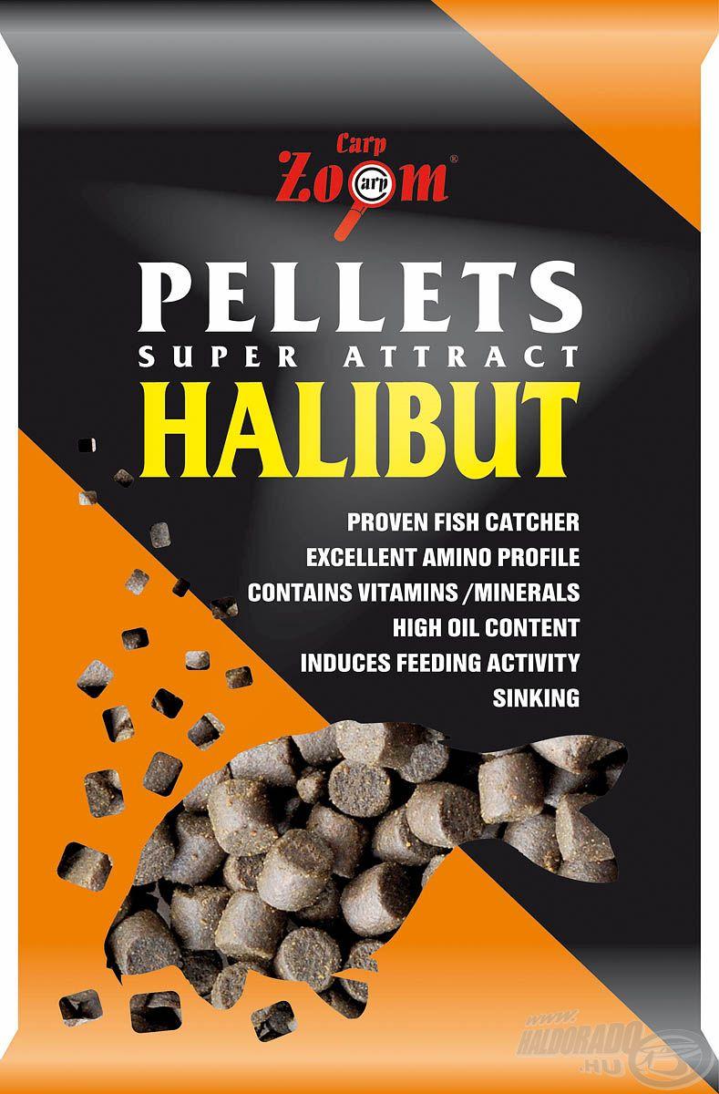 Három méretben kapható halibut pellet, mely összetevői révén folyamatos táplálkozásra készteti a halakat