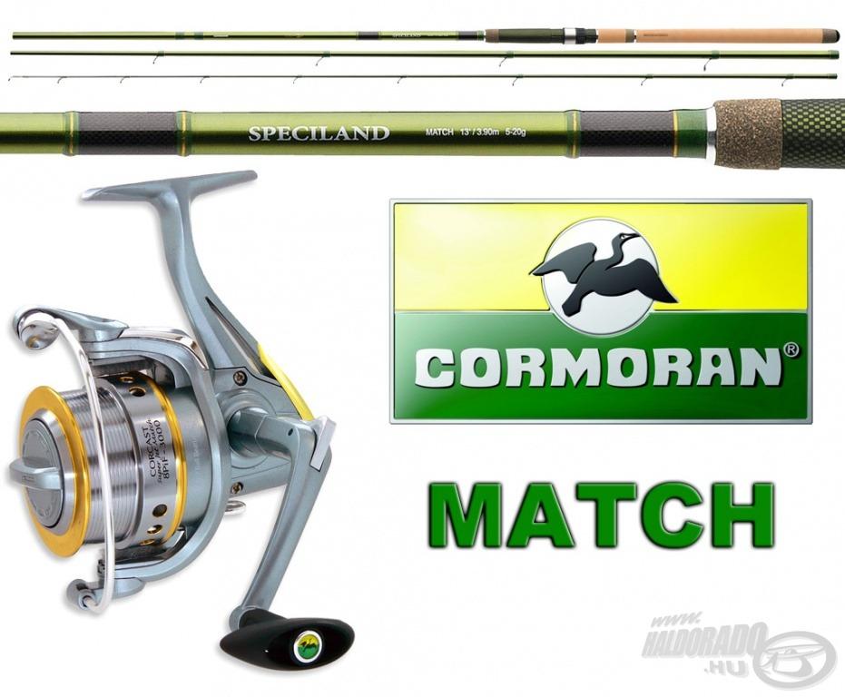 A matchbotos horgászat szerelmesei a Cormoran Speciland Match 3,90 m hosszú, 5-20 g dobósúlyú változatára, hozzá a CORCAST 8PiF Super Jet Match 3000 orsóra pályázhatnak