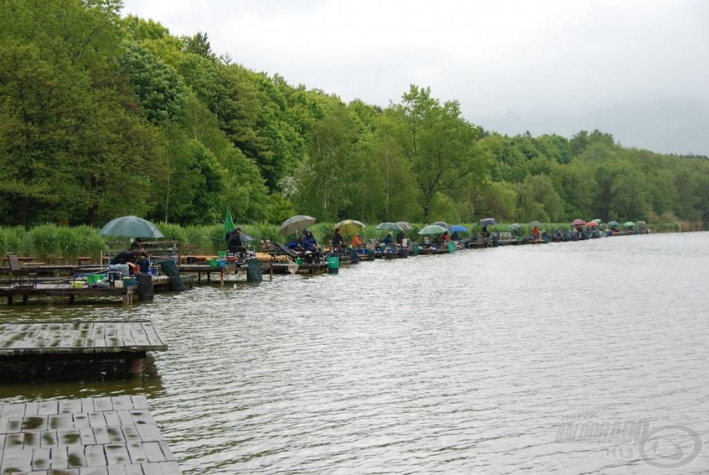 Versenyre előzetesen jelentkező 35 főből a rossz idő miatt 29 mindenre elszánt horgász jelent meg