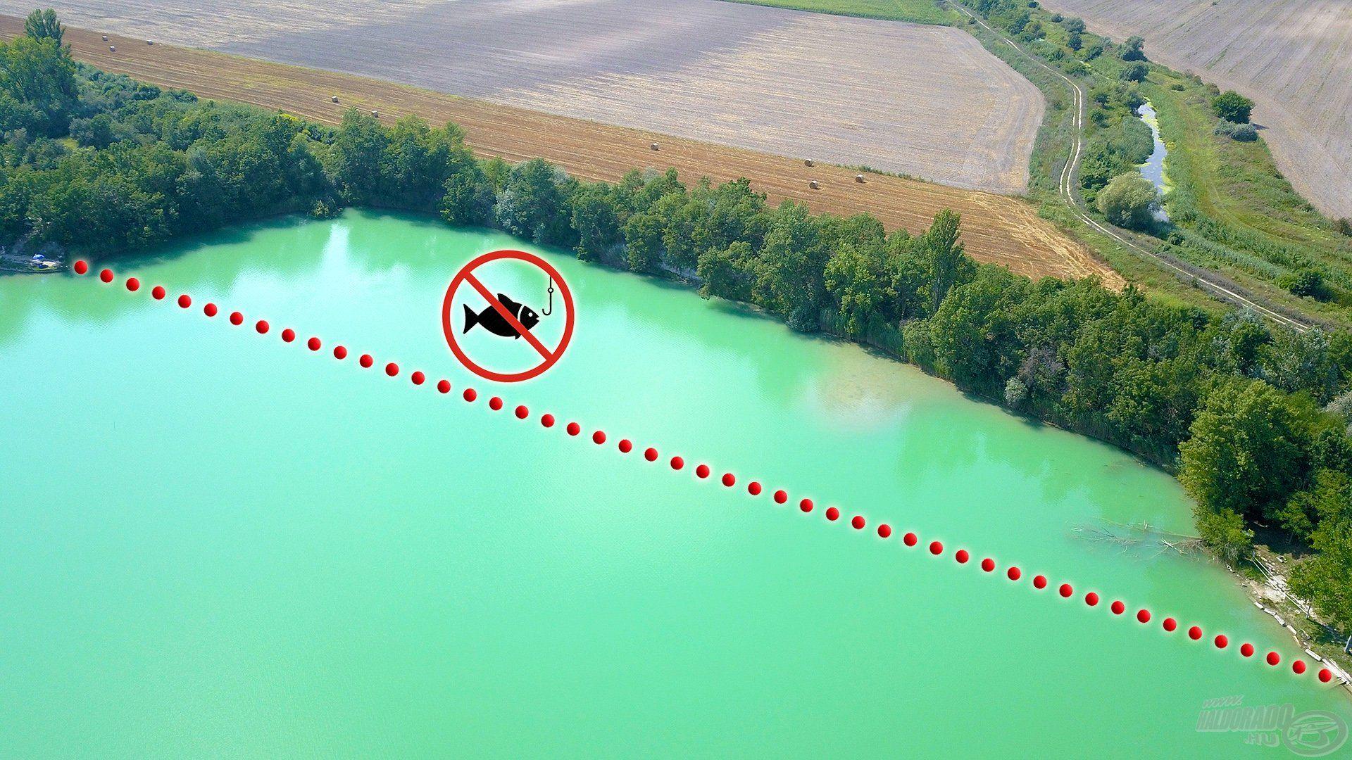 Ez a tó kíméleti, nyugalmi zónája, ahol szigorúan tilos a horgászat. Természetesen ezt mindkét szemközti parton egy tábla jelzi