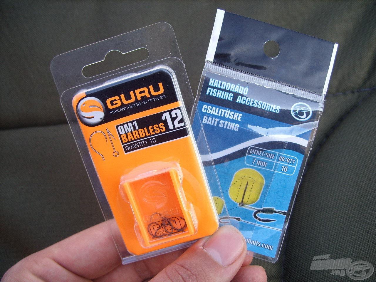 A kisebb csalikhoz a Guru QM1 szakáll nélküli horgait használtam 12-es méretben, amelykehez a 7 mm-es Haldorádó csalitüske kínál ideális megoldást csalink felkínálásához