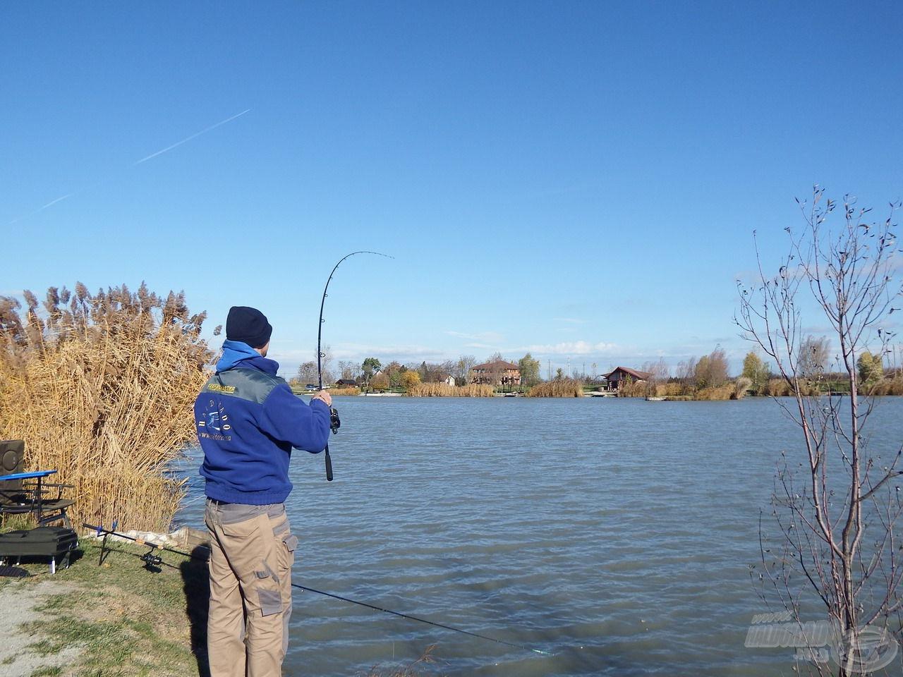 A keresőhorgászat aznap nem működött, jellemzőn csak az etetés helyéről sikerült a halakat horogra csalni…