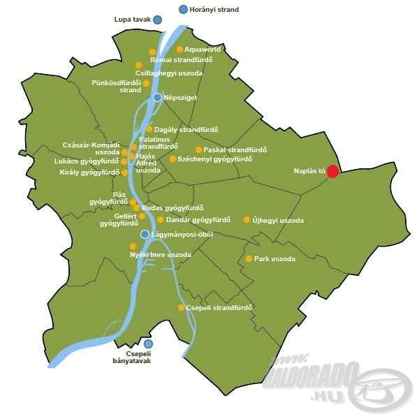 A tó elhelyezkedése a Budapest térképén