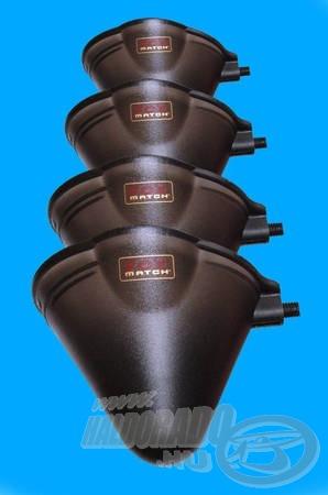 A négy méretet tartalmazó készlet teljesen kompatibilis a Drennan Polemaster csészék menetével