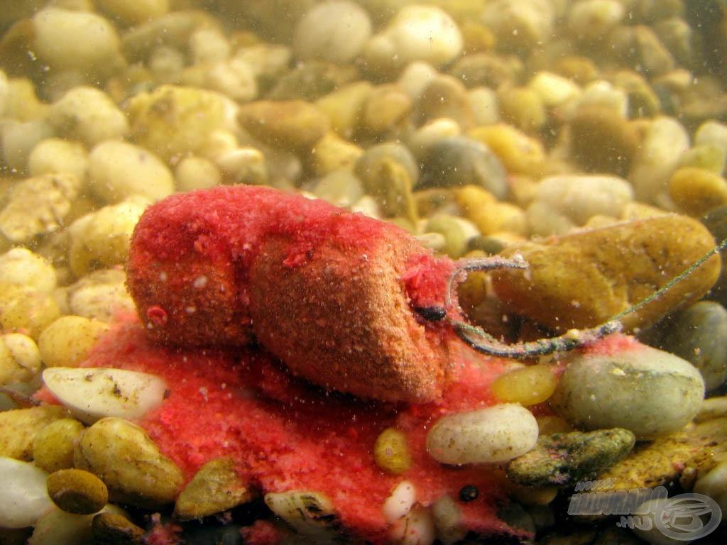 A dipek anyaga nagyjából 5-6 perc múlva száll le a mederfenékre, onnan csalogatva tovább a halakat horgunk közelébe