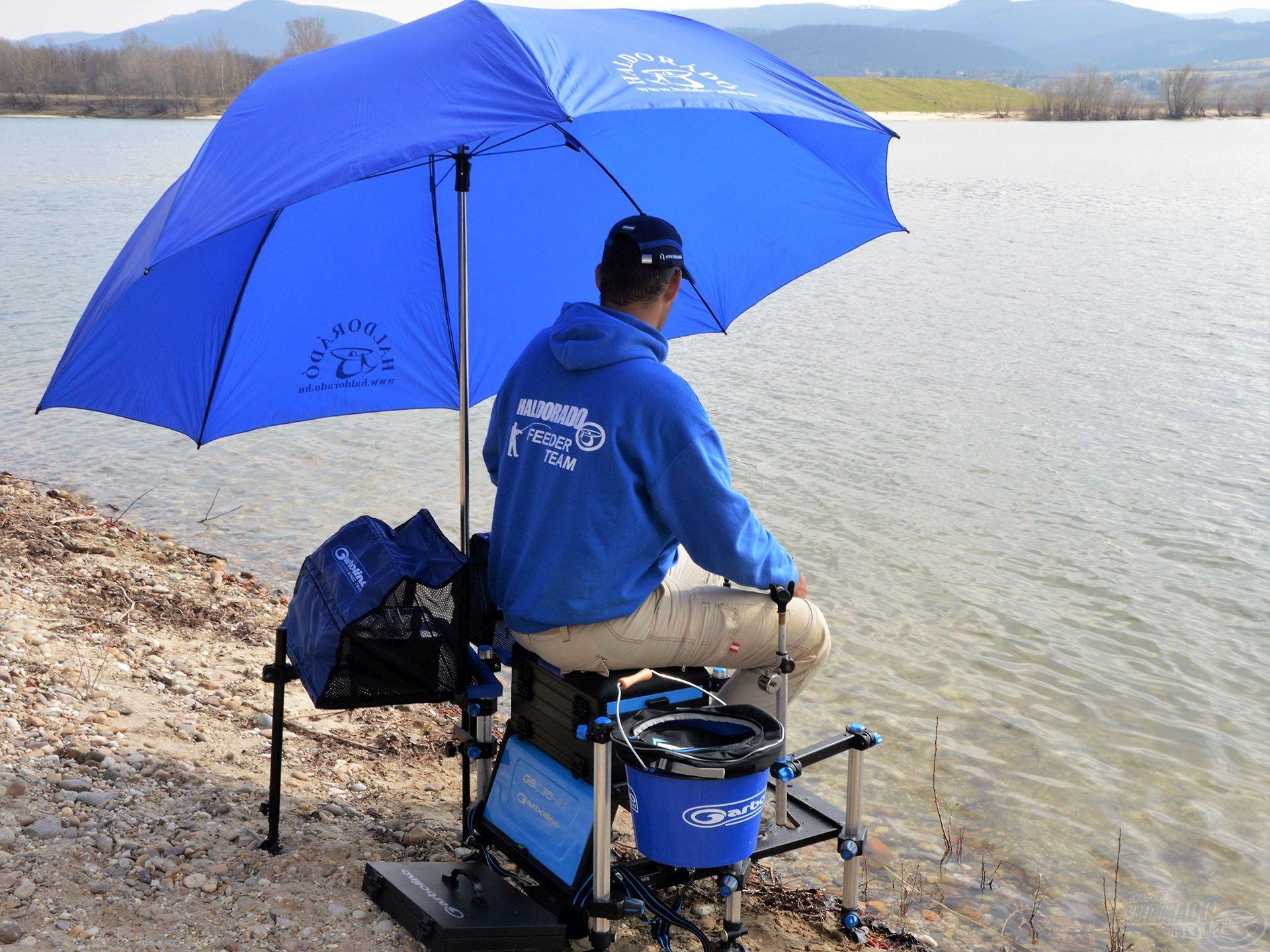 A horgászat zavartalan, ha az ernyő jól van pozícionálva