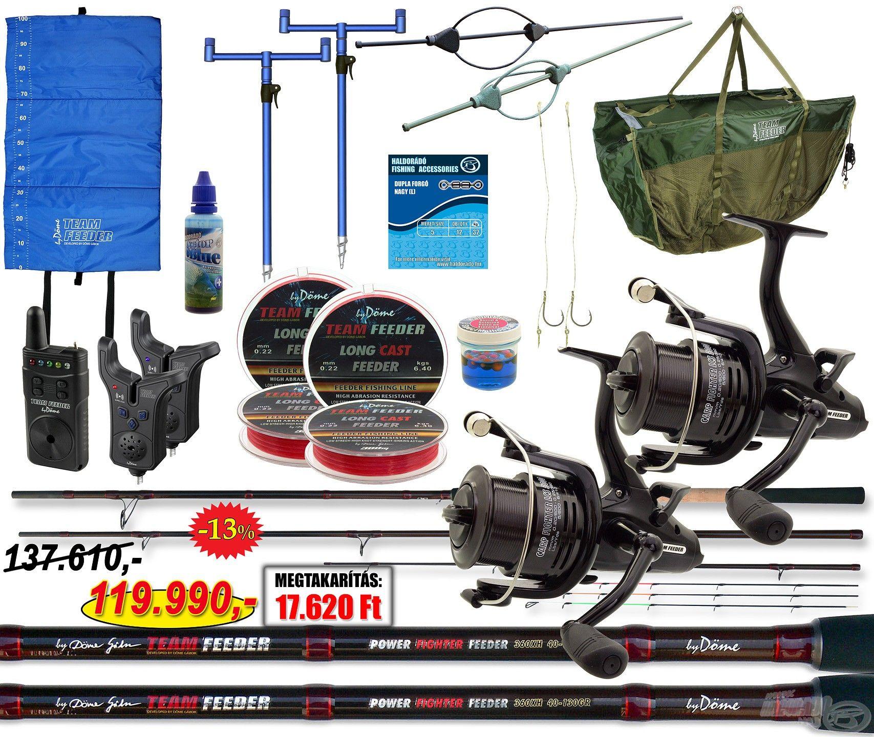 Egy komplett nagyhalas feeder páros szett, melyben minden megtalálható, ami a horgászathoz kell!