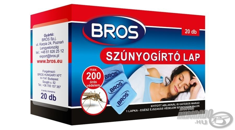 A BROS lapkái hatásos védelmet nyújtanak akár egész éjszakán át, nyitott ablaknál is
