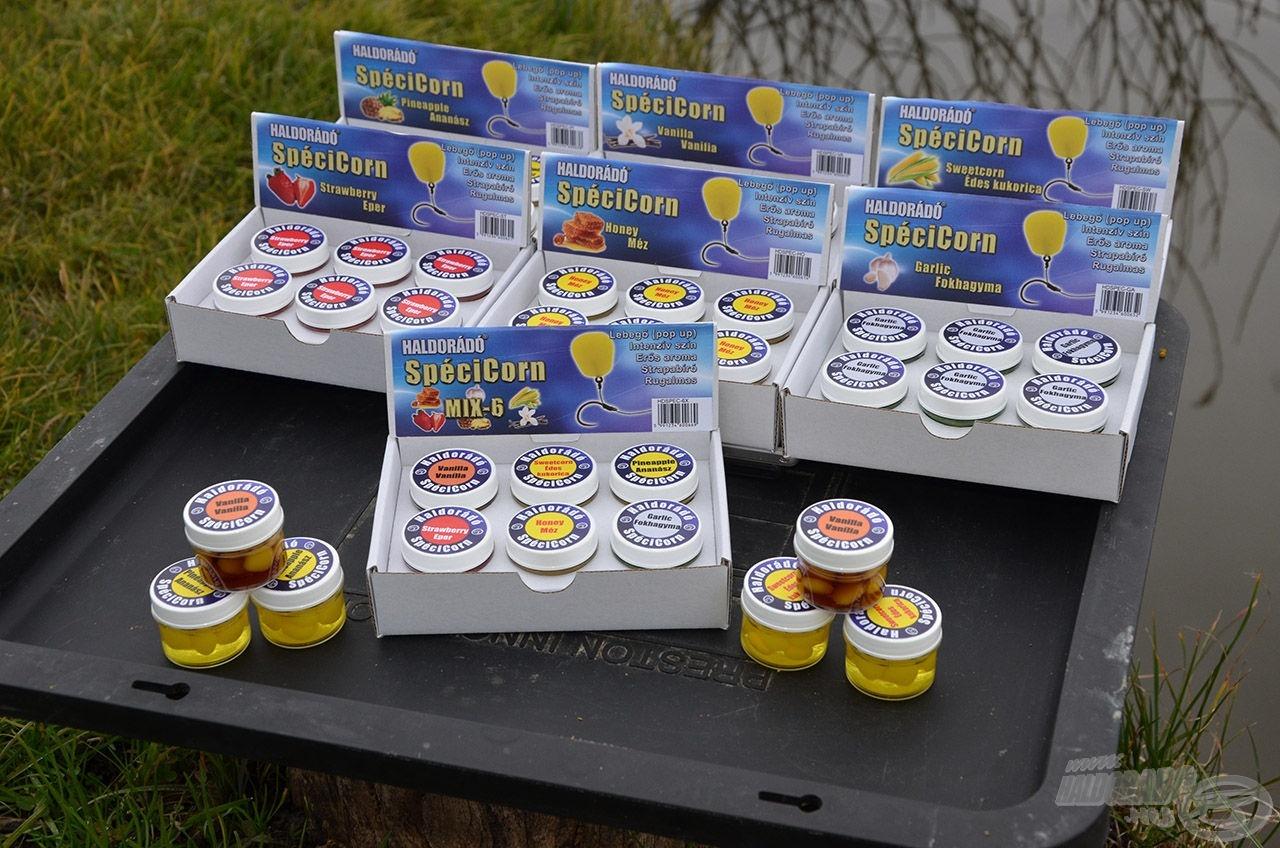 2015-től a Haldorádó termékpalettán megtalálható lesz a SpéciCorn nevű csali család. A boltok polcain ilyen kis kínáló dobozokban jelenik meg