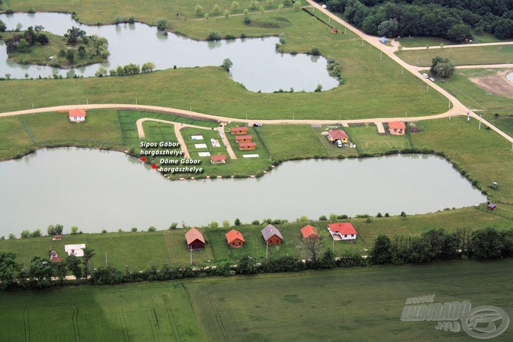 Az öt tó közül ez az, amely bárki számára horgászható. Megjelöltem rajta a horgászhelyeinket