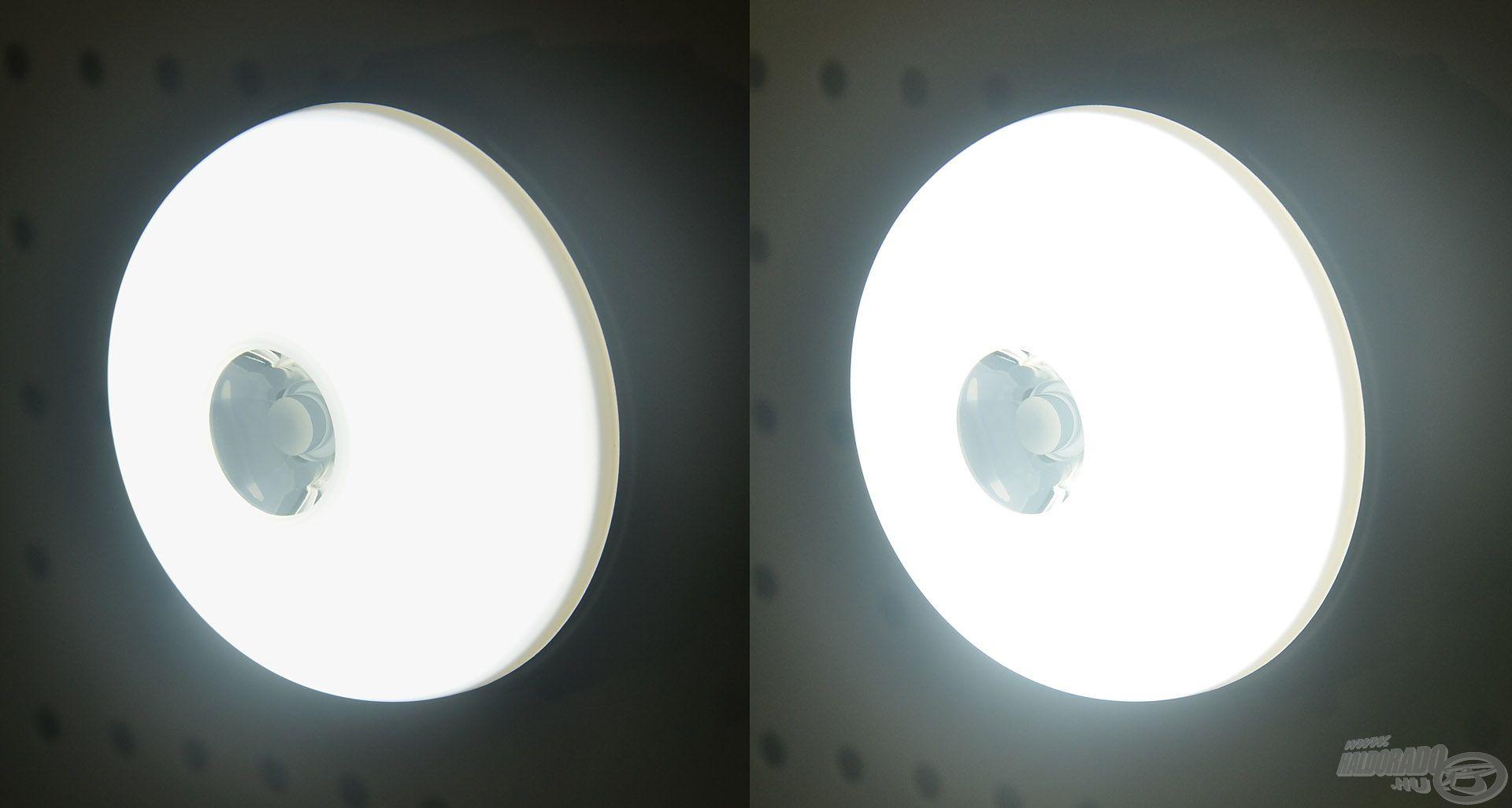 A közepes és maximális fényerő között jól látszik a különbség
