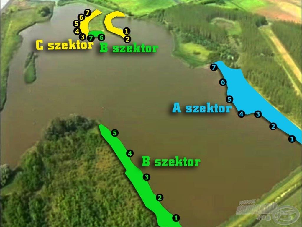 A tó látképe és a tervezett horgászhelyek madártávlatból