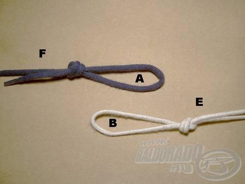 Kössünk végfület a főzsinór (F) és az előke (E) végére. A felesleges damilrészt vágjuk le. Az egyes füleket (A) és (B)-vel jelöltem.