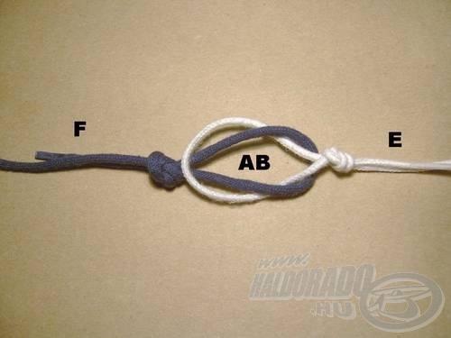 Bújtassuk át a közös (AB) fülön az előke horog felőli végét (E)