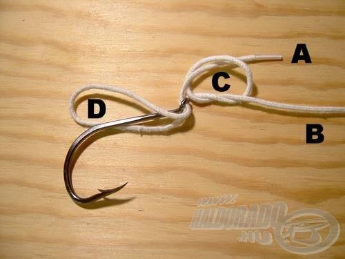 A (D) hurkon vegyük át a horgot.