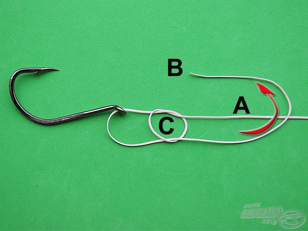 """Hajtsuk át a """"B"""" szálat az """"A"""" szálvég fölött"""