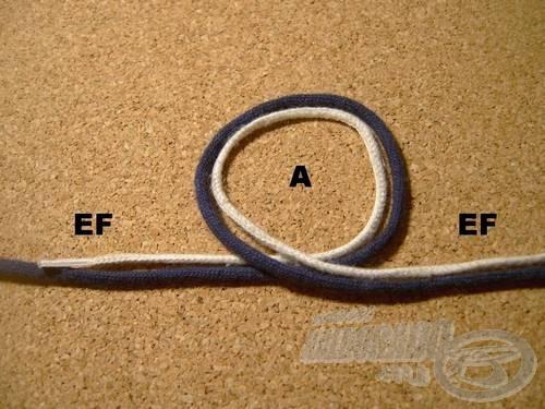 A továbbiakban az összefogott szálakat (EF)-fel jelölöm. Vegyük át a duplán vett szálakat önmagukon, létrejött az (A) hurok