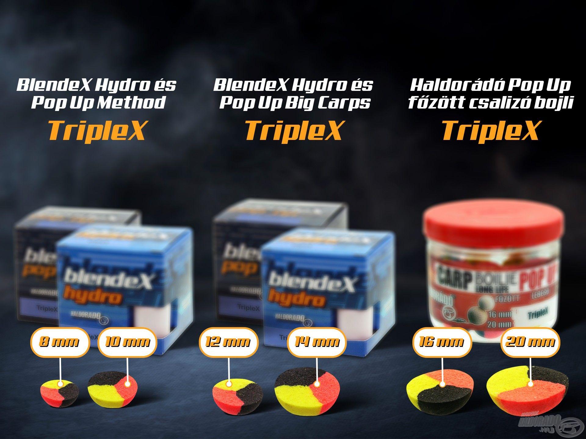 A BlendeX Method és Big Carp, valamint Pop Up főzött csalizó bojlijaink sorozatával összesen 6 méretben, szinte minden gyakori méretben, bármilyen pontyos technikához tudunk adni 3 színű csalit!