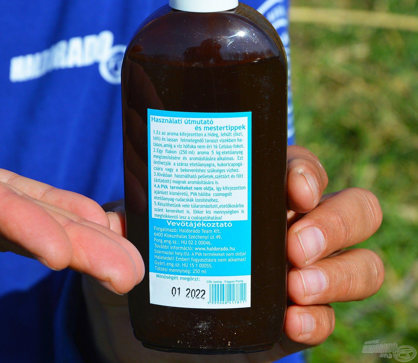 A flakon hátoldalán részletes használati utasítás olvasható adagolási javallattal
