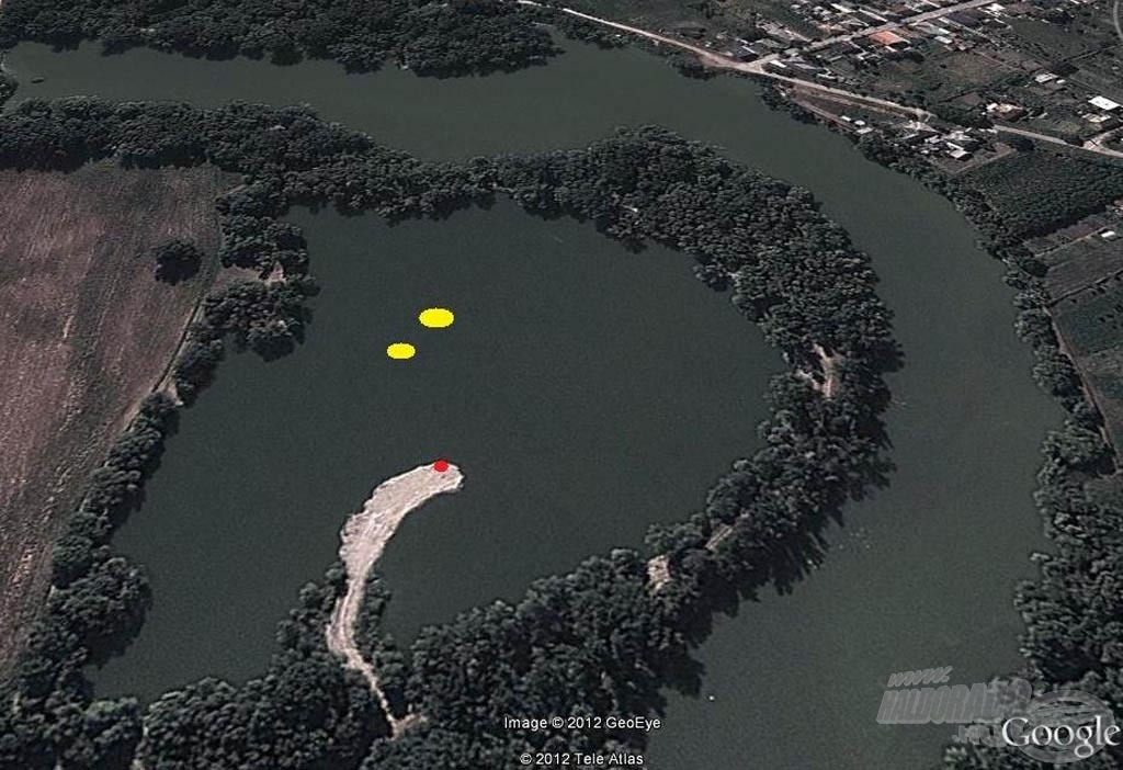 Piros: horgászhely; sárga: etetett helyek