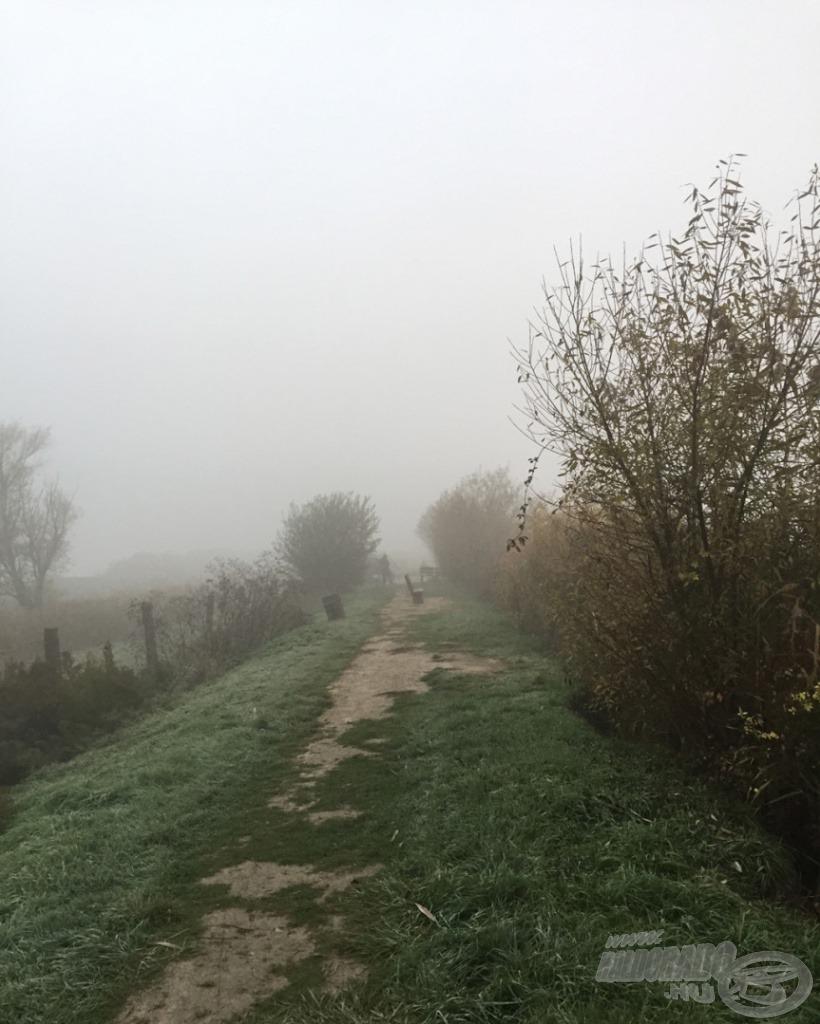 Ez a köd fogadott a parton, ám nem gondoltam, hogy fokozni fogja sűrűségét a horgászat megkezdéséig