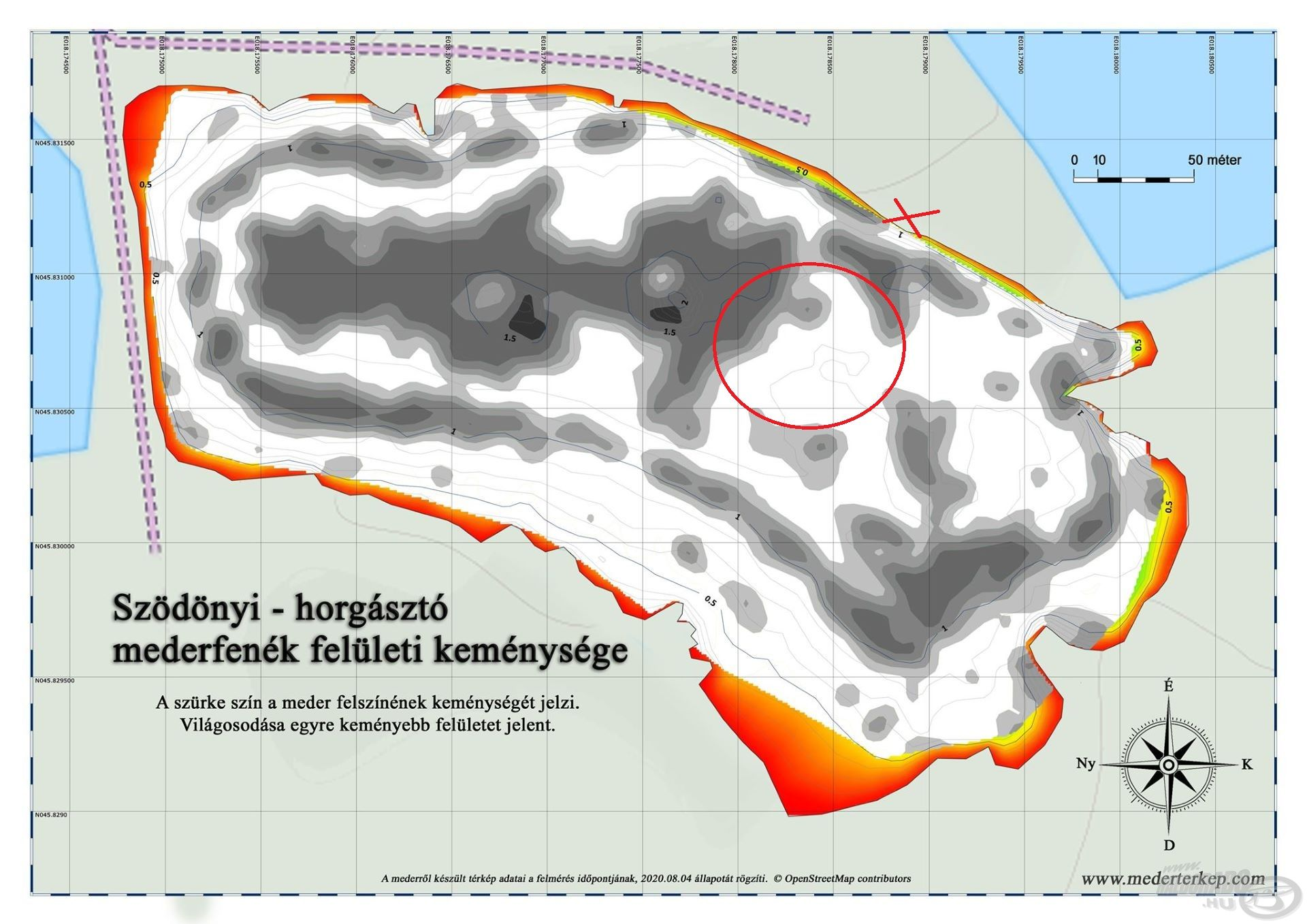A piros körrel jelölt terület volt az a rész, ahol több keményebb platót is találtam, ezek helyét a mederfenék keménységéről készített térkép is igazolta