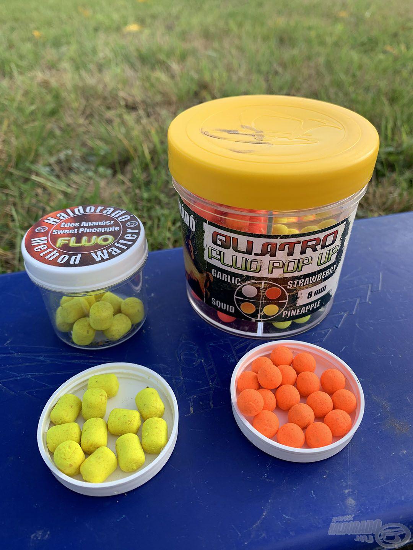 A Haldorádó palettából a Fluo Method Wafter - Édes Ananász és a Quatro Fluo Pop Up Boilie 8 mm - Tintahal csalik ízlettek az olasz pontyoknak is