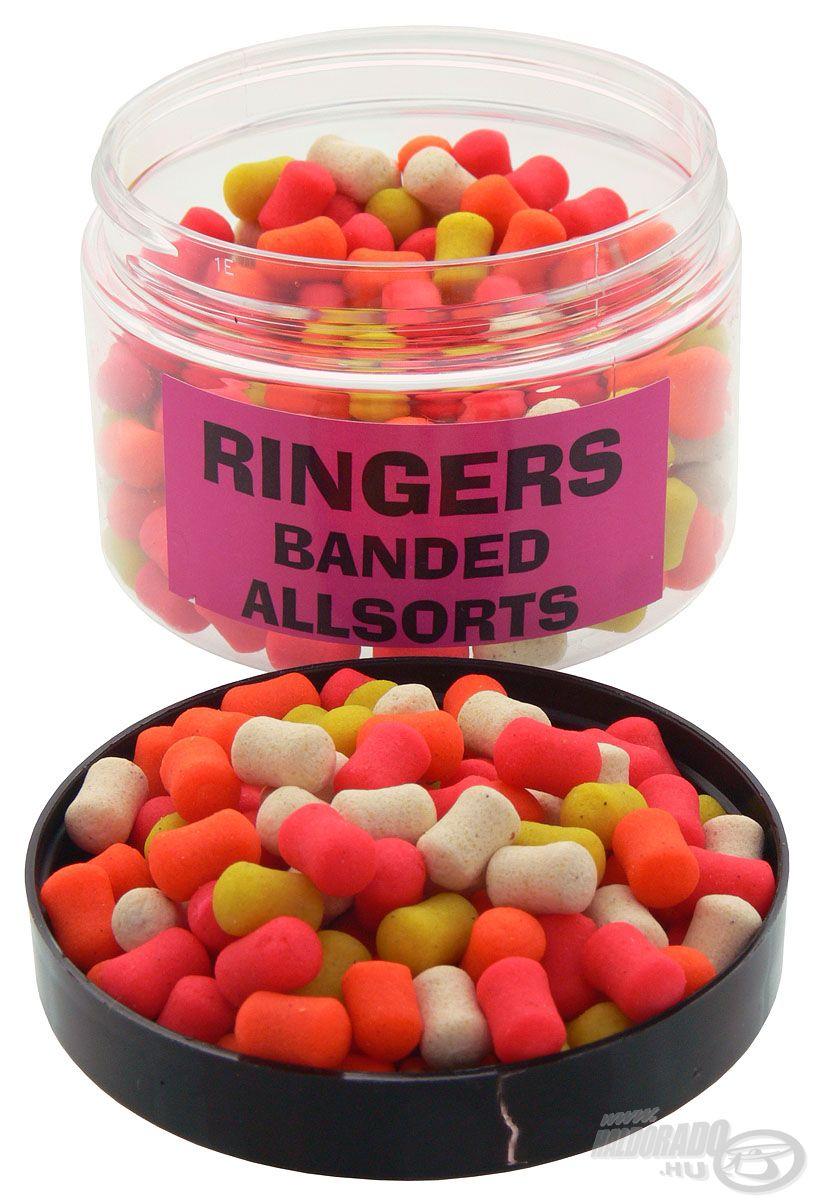 A Ringers Banded Allsorts pelletek esetében 7 mm-es, vegyes színezetű csalikat találunk egy dobozon belül