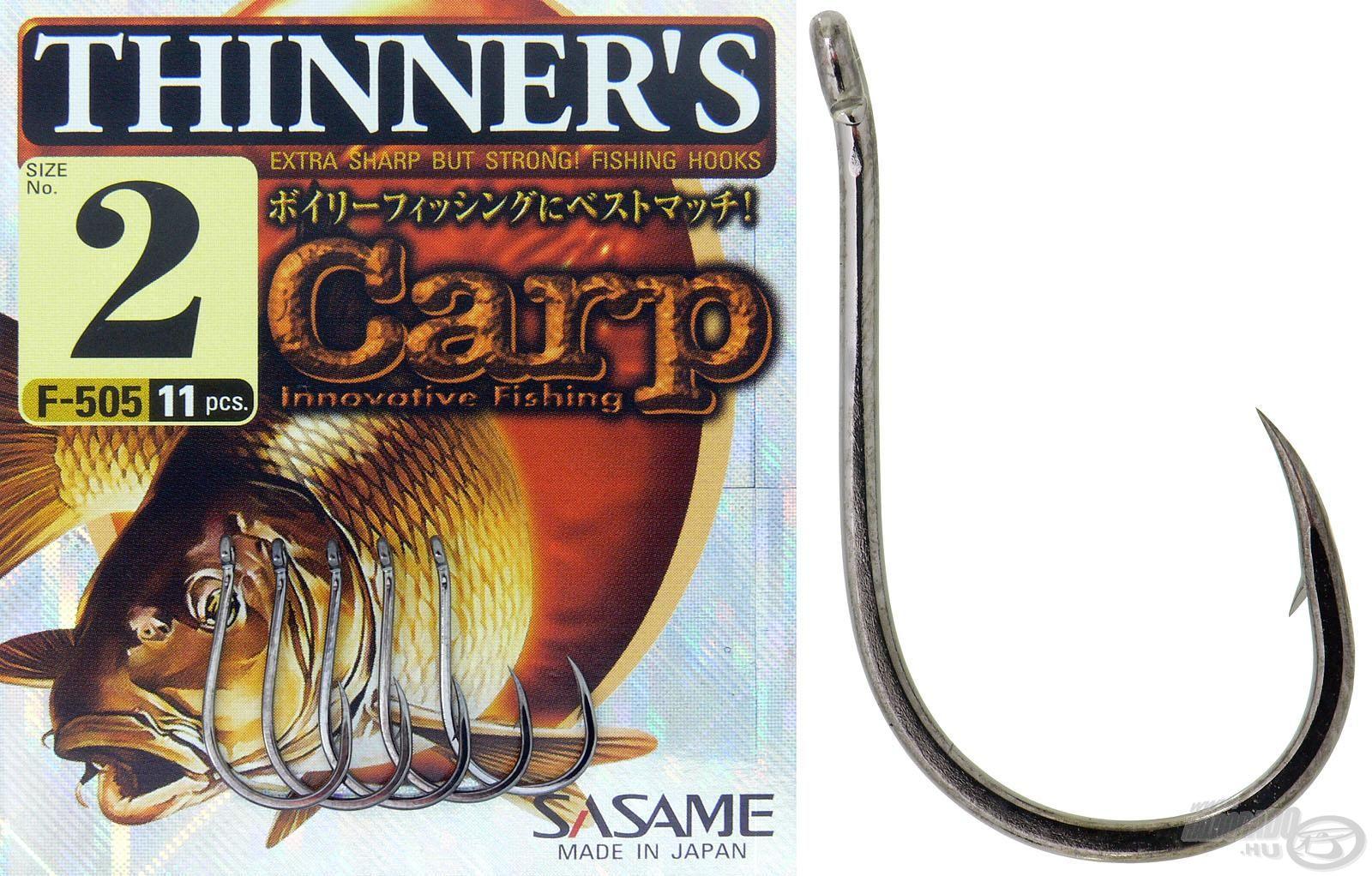 A Sasame Thinner's kerek öblű, jól balanszírozható horog