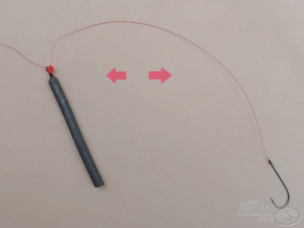 A gumiütköző elcsúsztatható a damilon annak károsítása nélkül, ezzel változtathatjuk a horog és a pálcaólom közötti távolságot