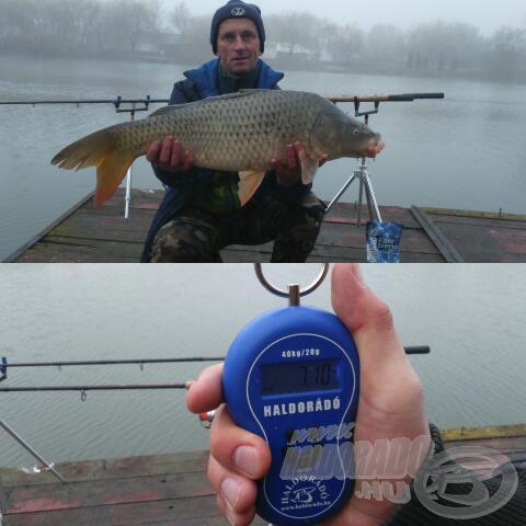 A hal pontos súlya 6,80 kg (halmérő zsákot levonva)