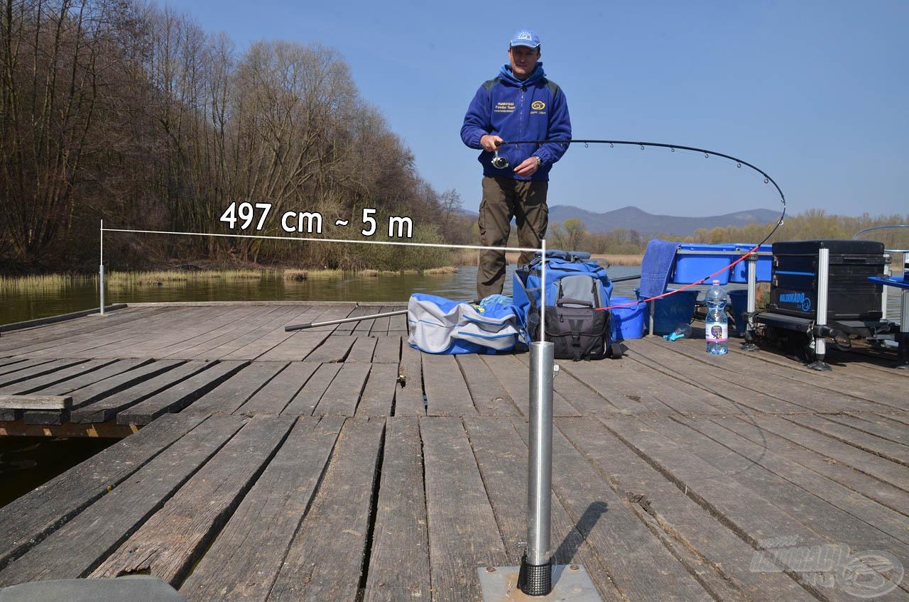 A karók segítségével nagyon pontosan kimérhető a meghorgászandó távolság