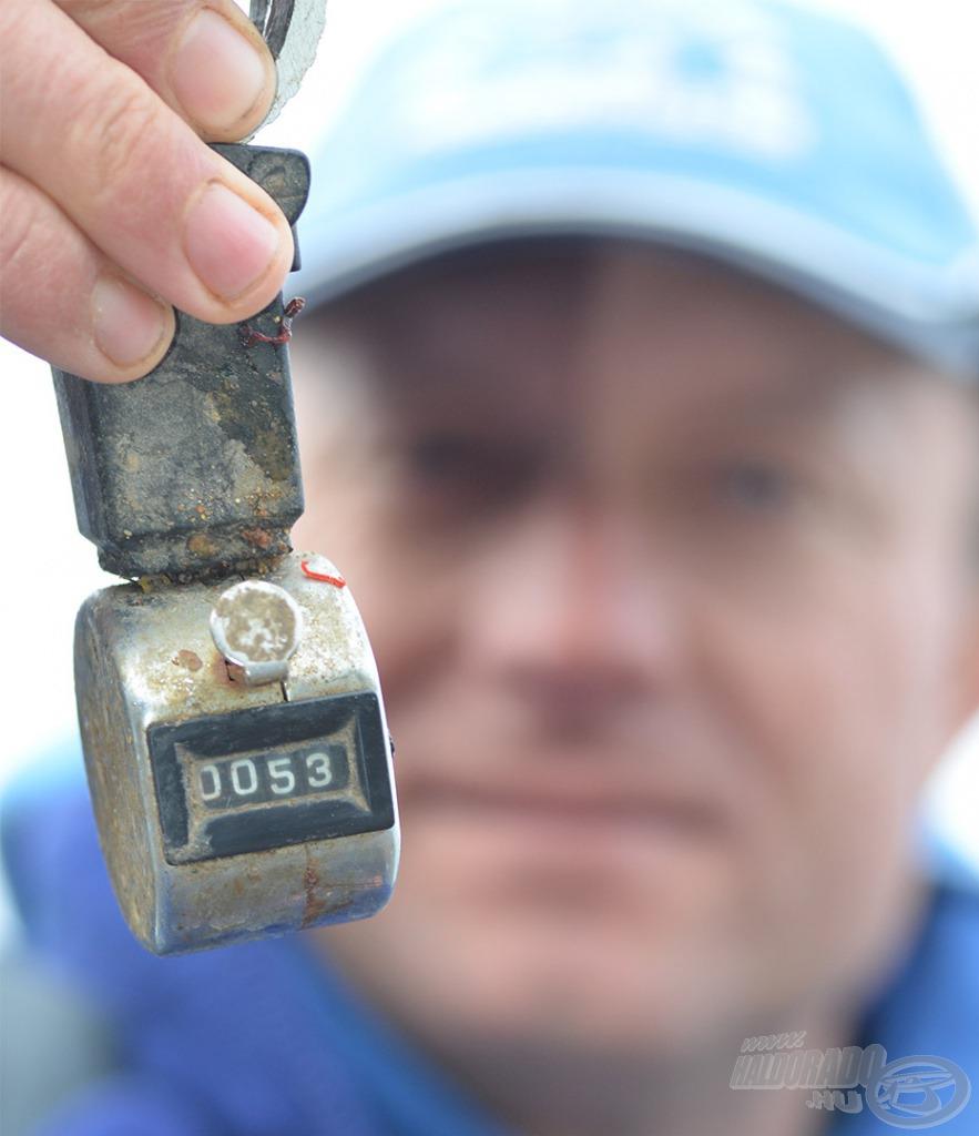 53 db keszeget mutatott a 6 órás horgászat végén a halszámláló, ez minimum 25 kg összefogást jelentett - eredményes nap volt!!!