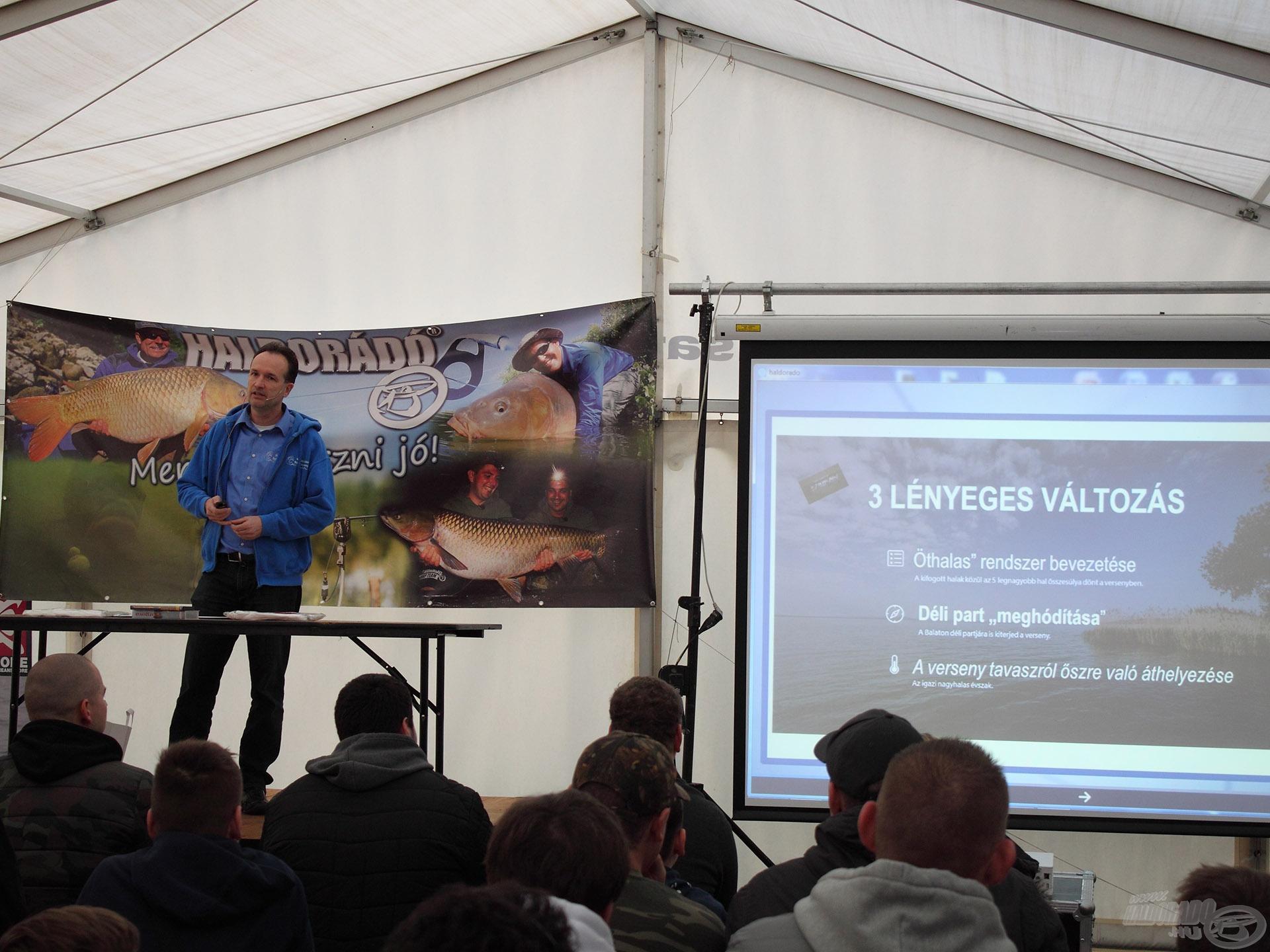 Szamosi Attila, a Nemzetközi Balatoni Bojlis Horgászverseny főszervezője igazán érdekes és hasznos infókkal teli előadást tartott