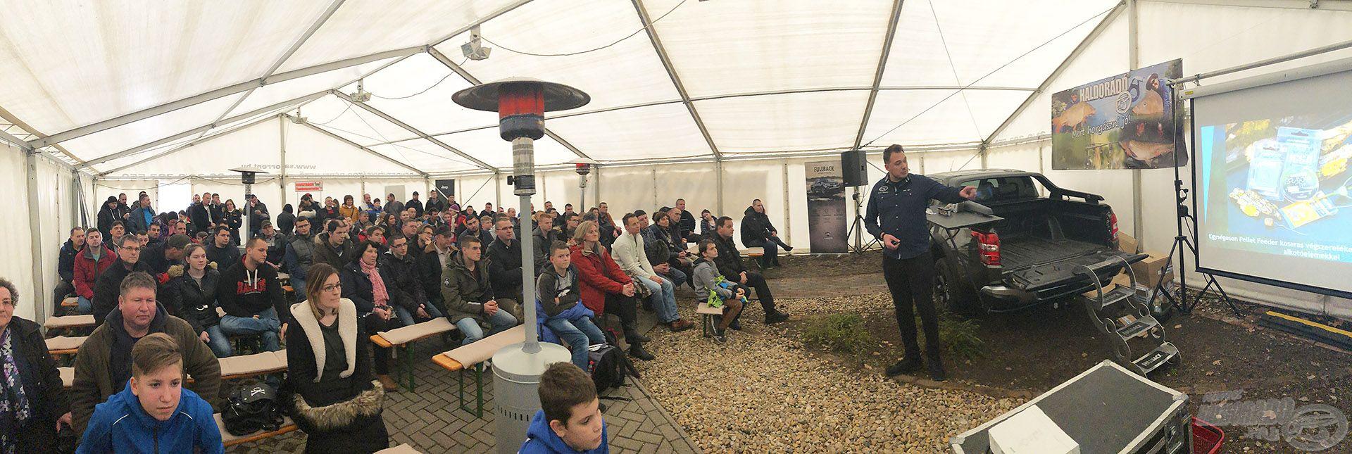 Putz Tomi mai előadásában a hideg vízi nagypontyos feeder praktikáit osztotta meg a közönséggel