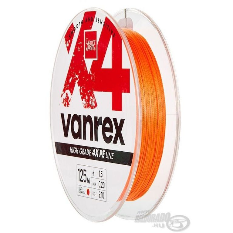 Lucky John Vanrex X4 Braid Fluo Orange 125 m - 0,12 mm